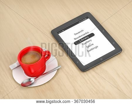 E-book Reader And Coffee On A Wooden Table, 3d Illustration