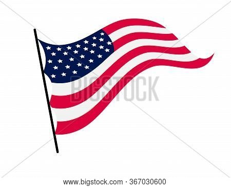Waving Flag Of The United States Of America. Illustration Of Wavy American Flag. National Symbol, Am