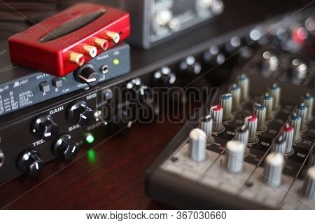 Picture Of Musical Amplifier Sound Amplifier Or Music Mixer With Knobs And Jack Holes. Perfect For M