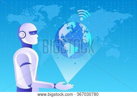 Artificial intelligence in the image of a wise woman. AI conceptual futuristic blue banner. Cybernetics mind analysis data. Neuron network processes information. Interface consists of computer icons. Robots man and woman with artificial intelligence worki