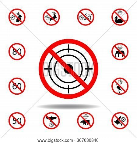 Forbidden Hunting Icon On White Background. Set Can Be Used For Web, Logo, Mobile App, Ui, Ux