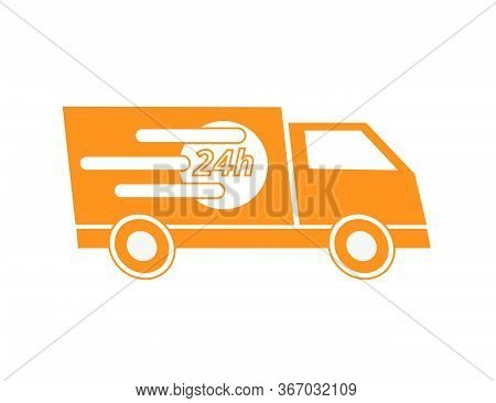 24h Delivery Service Orange Truck Icon - Vector Illustration - Isolated On White.