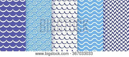 Wave Seamless Pattern. Vector. Blue Wavy Background. Set Textures With Stripes, Tides And Rollers. S