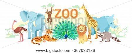 Zoo Flat Landscape, Cute Cartoon Animal Set Background. Exotic Wildlife Illustration With Tiger Lion
