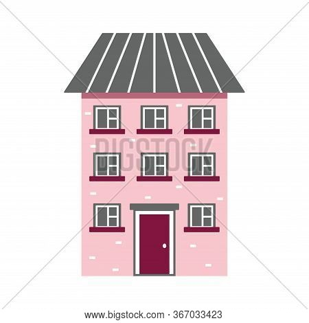 Cute Dwelling House With Bright Colors, High-rise. Isolated Vector Illustration In A Flat Style. Hom