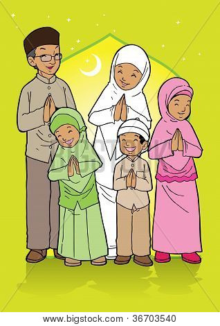 Indonesian family muslim eid mubarak celebration day poster