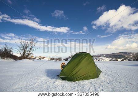 winter tent snow Nebrodi Mountains natural landmark Sicily travel adventure wild outdoor