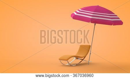 Beach Deck Chair And Umbrella On Sand Background, 3d Rendering