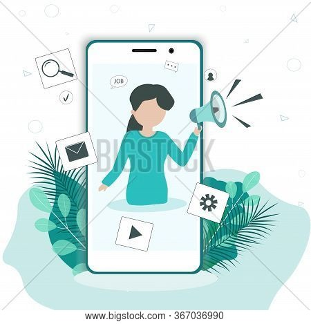 Girl Speaks To The Loudspeaker. Announcement Of Important Information, Advertising, Attracting The A