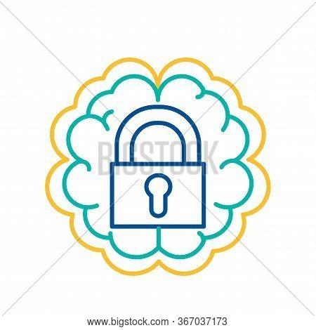 Lock Icon Human Brain Background, Introvert Sign