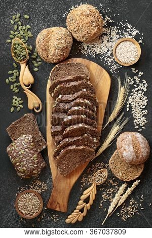 High fibre  rye bread & healthy rolls with loose grain & seeds. High in vitamins, antioxidants & omega 3 with low gi. Health food to reduce high blood pressure, cholesterol &  optimise a healthy heart