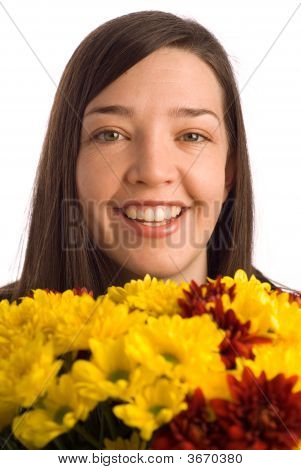 Smiling Secretary, Assistant Or Student Woman Smelling Flowers