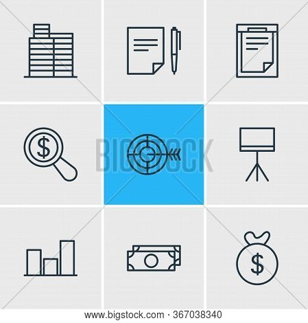 Vector Illustration Of 9 Trade Icons Line Style. Editable Set Of Research, Moneybox, Presentation An