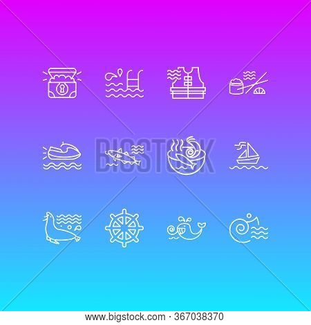 Vector Illustration Of 12 Maritime Icons Line Style. Editable Set Of Cod Fish, Treasure Chest, Ship