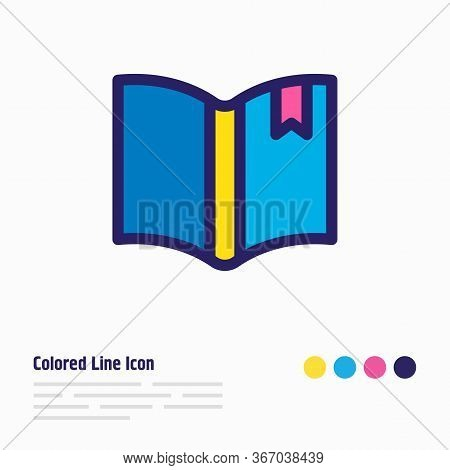 Vector Illustration Of Bookmarking Icon Colored Line. Beautiful Book Reading Element Also Can Be Use
