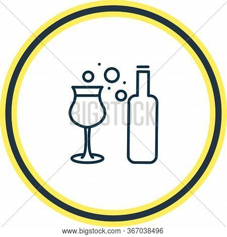 Illustration Of Dessert Wine Icon Line. Beautiful Drink Element Also Can Be Used As Aperitif Icon El