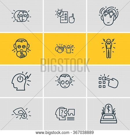 Vector Illustration Of 12 Emoticon Icons Line Style. Editable Set Of Responsibility, Making Choice,