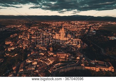 Segovia Cathedral aerial view at sunrise in Spain.