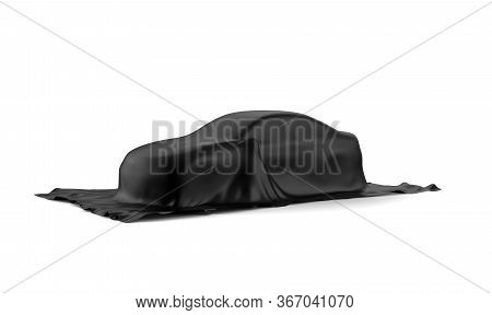Car Covered With A Black Cloth Isolated On A White Background: 3d Illustration