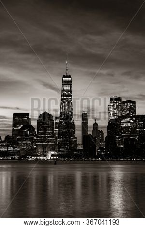 New York City urban view with downtown historical architecture
