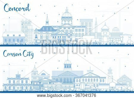 Outline Carson City Nevada and Concord New Hampshire City Skylines Set with Blue Buildings. Cityscapes with Landmarks.