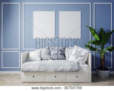 Modern Living Room Interior Background, Scandinavian Style, 3D Illustration. Living Room Mockup