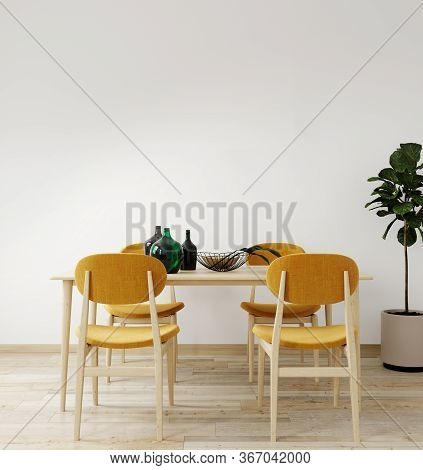 Stylish Interior Of Bright Living Room With Table And Chair Table, With Decoration. Living Room Inte
