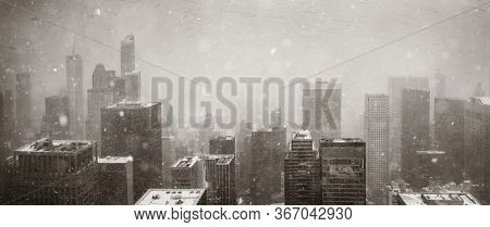 New York City skyline urban view in winter snow with historical architecture