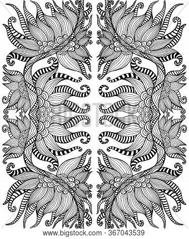 Black And White Psychedelic Shamanic Ornament Coloring Page. Fantasy Bohemian Abstract Background. V