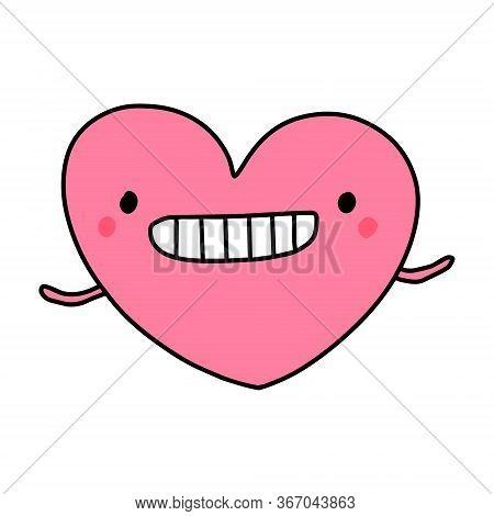 Crazy Smile Heart Symbol Doodle Illustration Icon In Cartoon Comic Kawaii Face
