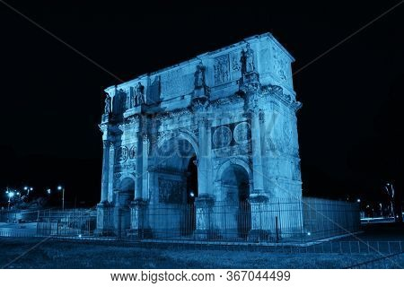 Arch of Constantine in Rome at night, Italy.