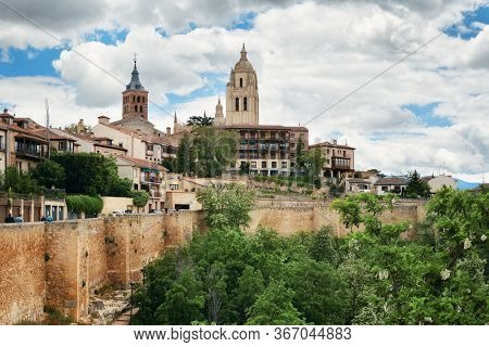 Ancient architecture of Cathedral of Segovia in Spain.