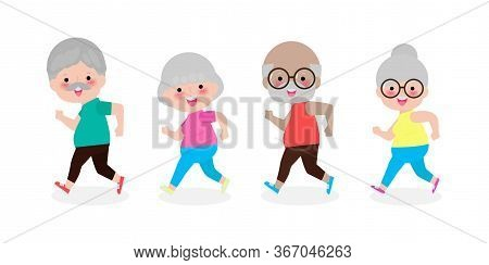 Group Of Cartoon Running Old Woman, Man. Cartoon Character. Old People Activity. Vector Gym Or Outdo