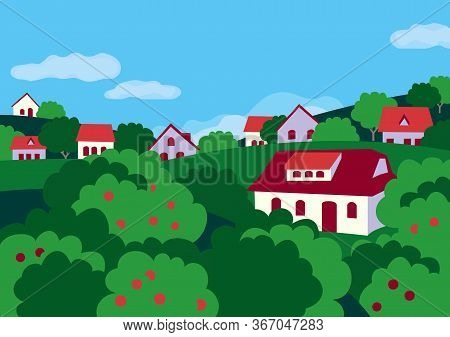 Summer Rural Green Valley Landscape Flat Color Vector. Farmland Village Scenic View Poster. Town Hou