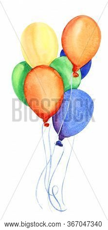 Watercolor Image Of Bunch Of Helium Balloons Isolated On White Background. Seven Bright Balloons Of