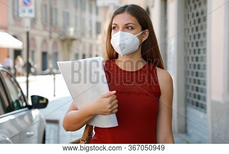 Covid-19 Global Economic Crisis Unemployed Worried Girl With Kn95 Ffp2 Mask Looking For Job Walking
