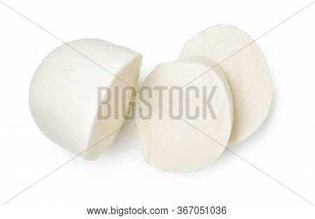 Pieces Of Mozzarella Buffalo Cheese Isolated On White Background. Top View Of Sliced Cheese.