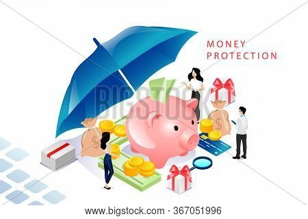 Isometric Money Protection Concept. Moneybox Piggy Bank With Gold Coins And Dollar Banknotes, Busine