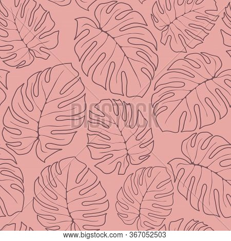 Seamless Pattern Line Drawing Outline Vector With Tropic Monstera Drown Leaves On Pink Pastel Backgr