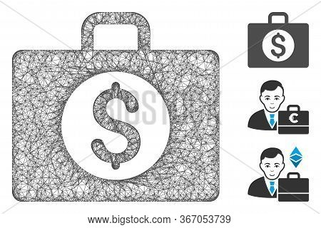Mesh Accounting Case Web 2d Vector Illustration. Carcass Model Is Based On Accounting Case Flat Icon