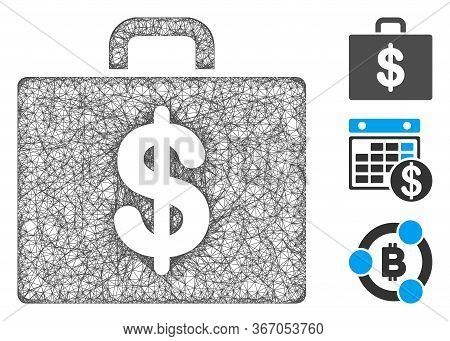 Mesh Accounting Case Web Icon Vector Illustration. Model Is Based On Accounting Case Flat Icon. Netw