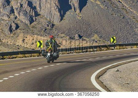 Motorcycle At Andean Highway, Mendoza, Argentina