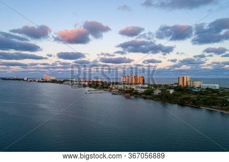 Aerial View Of Perdido Key Beach In Pensacola, Florida At Sunset