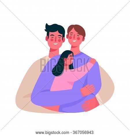 Happy Homosexual Family, Gay Couple With A Baby. Two Men Hugging Baby. Gay Parents Embracing Adopted