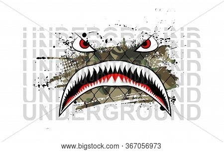 Military Print, Flying Tiger Shark With Underground Text For T-shirt And Merch Design. Art For Silks
