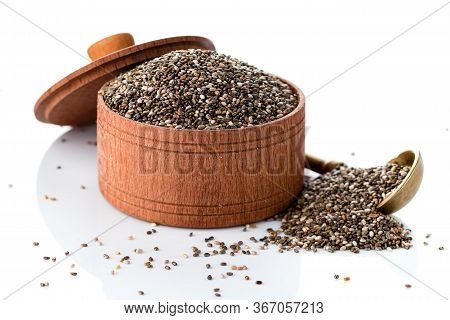 Chia Seed Isolated On White, Close Up Of Wooden Bowl Of Chia Seeds