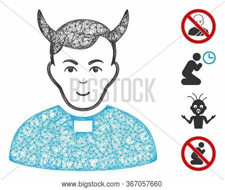 Mesh Devil Priest Web 2d Vector Illustration. Carcass Model Is Created From Devil Priest Flat Icon.