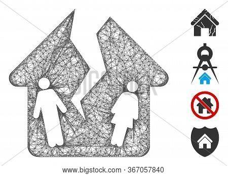 Mesh Divorce House Web Symbol Vector Illustration. Model Is Based On Divorce House Flat Icon. Networ