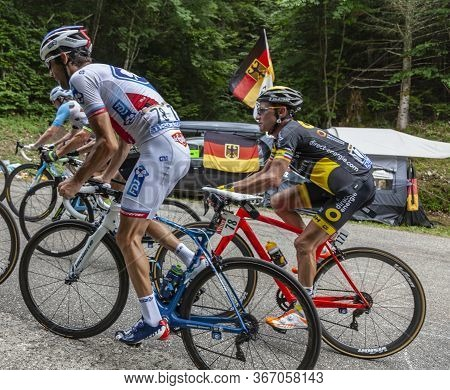Bourget-du-lac, France - July 9, 2017: The French Cyclist Thibaut Pinot Of Fdj Team In  The Peloton