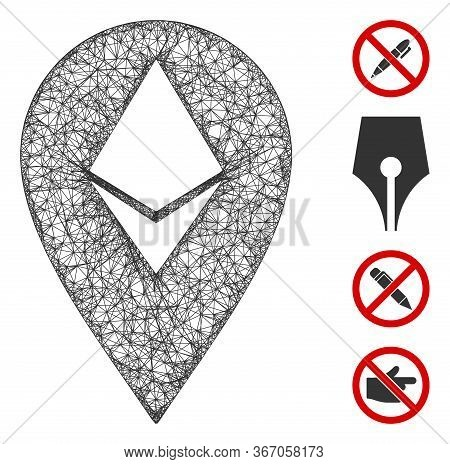 Mesh Ethereum Marker Web Icon Vector Illustration. Model Is Created From Ethereum Marker Flat Icon.